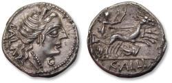 Ancient Coins - AR denarius C. Allius Bala. Rome 92 B.C. - biga of stags, grasshopper symbol, beauty -