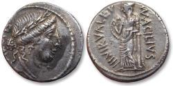 Ancient Coins - AR denarius Mn. Acilius Glabrio. Rome 49 B.C.