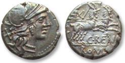 Ancient Coins - AR Denarius C. Renius. Rome, 138 B.C - goat biga, Ex Kunker -