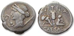 Ancient Coins - AR denarius C. Julius Caesar, military mint in Spain 46-45 B.C. - great toning -
