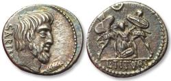 Ancient Coins - AR denarius L. Titurius L.f. Sabinus, Rome 89 B.C - the death of Tarpeia, high quality and heavy 4,24gr -