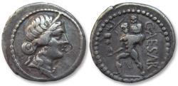Ancient Coins - AR denarius, C. Julius Caesar. Military mint with Caesar in North Africa 47-46 B.C.