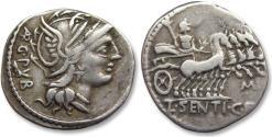 Ancient Coins - AR denarius L. Sentius. c.f., Rome 101 B.C. - control letter M on reverse -
