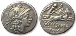 AR denarius Spurius Afranius, Rome 150 B.C. - beautifully struck and great irridescent toning -