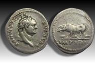 Ancient Coins - AR Denarius, Titus as Caesar. Rome 77-79 A.D. - Sow with three piglets -