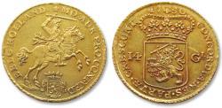 """Ancient Coins - AV/AU Dutch 14 gulden / guilder """"gold rider"""" (gouden rijder), Holland 1750 (1750 struck over 1749)"""