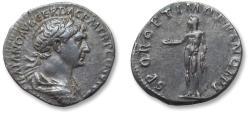 Ancient Coins - AR denarius Trajan / Trajanus, Rome 113-114 A.D. - SPQR OPTIMO PRINCIPI, draped & cuirassed bust