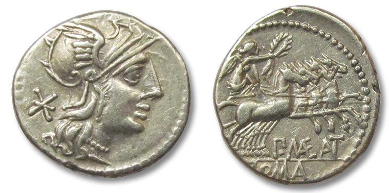 Ancient Coins - HS: AR denarius P. Maenius Antiaticus, Rome 132 B.C.