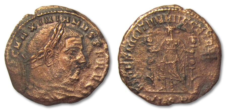 Ancient Coins - MO: AE27 Maximianus Herculius, Aquileia 286-305 A.D.