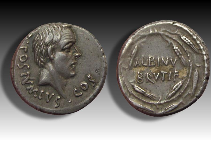 Ancient Coins - AR denarius D. Iunius Brutus Albinus, Rome 48 B.C.