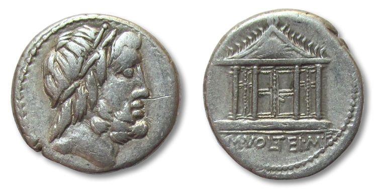 Ancient Coins - HS: AR denarius M. Volteius, Rome 78 B.C.