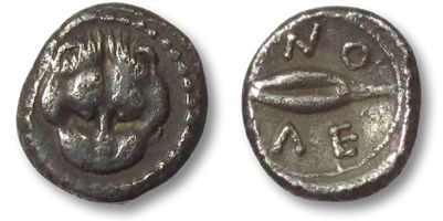 Ancient Coins - AR litra Sicily, Leontinoi 485-466 B.C. --tiny silver fraction--