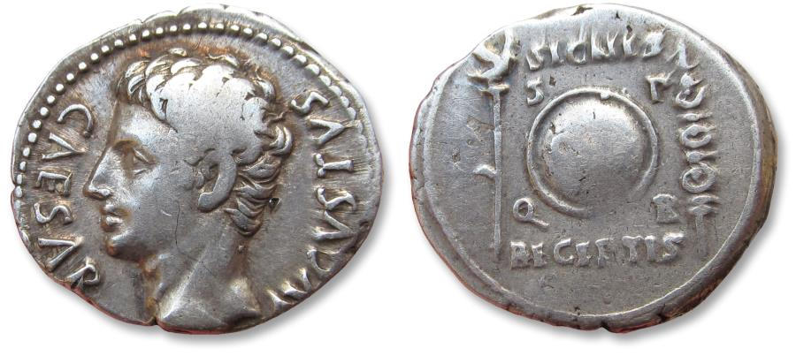 Ancient Coins - AR denarius Augustus, Colonia Patricia, 19 B.C. - variety with left facing bust -