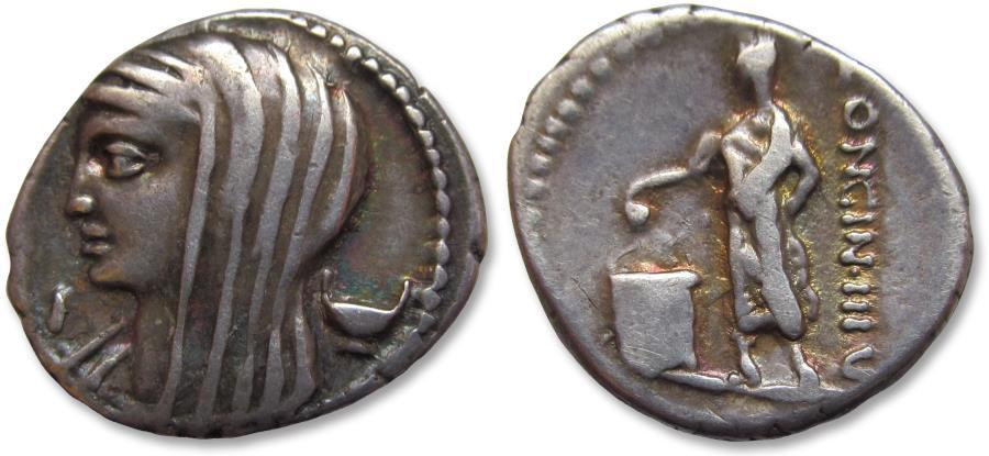 Ancient Coins - AR denarius L. Cassius Longinus, Rome 63 B.C. -- control letter I --