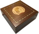 Ancient Coins - Small walnut veneered coin case decorated with portrait of emperor NERO - holds 100 coins up to 37mm -
