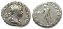 Ancient Coins - AR denarius Trajan / Trajanus, Rome 116 A.D. -- naked Genius standing left --