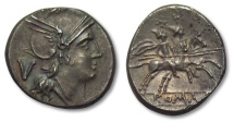 AR quinarius anonymous issue, Rome 211-208 B.C.-- beauty --