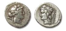 Ancient Coins - HS: AR denarius L. Cassius Longinus, Rome 78 B.C.