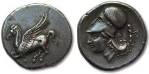 Ancient Coins - AR stater Corinthia, Corinth, 345-307 B.C. -- miniature Dionysos, superb coin --