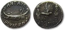 Ancient Coins - AR denarius Marcus Antonius / Marc Antony, LEG VII, Patrae mint 32-31 B.C.
