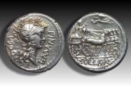 AR denarius L. Cornelius Sulla and L. Manlius Torquatus, military mint moving with Sulla 82 B.C.