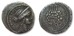 Ancient Coins - AR denarius C. Considius Nonianus, Rome 57 B.C. -- Temple of Venus Erycina atop mountain --