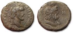 Ancient Coins - 23mm BI billon tetradrachm emperor Antoninus Pius - impressive bust of Serapis- Egypt, Alexandria mint dated RY 8 = 144-145 A.D.