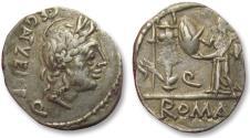 Ancient Coins - AR quinarius C. Egnatuleius C.f., Rome 97 B.C. - sharply struck -