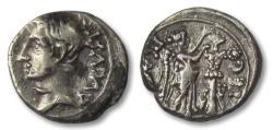 Ancient Coins - AR quinarius Octavian as Augustus, Emerita 25-23 B.C.