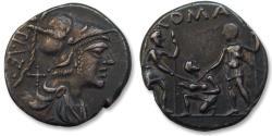 Ancient Coins - AR Denarius, Ti. Veturius. Rome, 137 B.C.