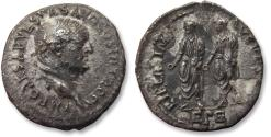 Ancient Coins - AR denarius Vespasian / Vespasianus, Ephesus mint 71 A.D. - Titus & Domitian on reverse, damaged but  scarcer type