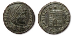 Ancient Coins - MO: AE campgate follis Constantine I the Great, Siscia 307-337 A.D.
