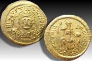 Ancient Coins - Gold solidus Justin II, Constantinople mint - CONOB in exergue, officina S