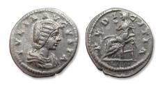 Ancient Coins - AR denarius, Julia Domna (struck under her husband Septimius Severus), Laodicea ad Mare (Syria) mint 196-202 A.D. - PVDICITIA -