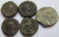 Ancient Coins - Lot of 5x AE/BI tetradrachms Alexandria, Egypt