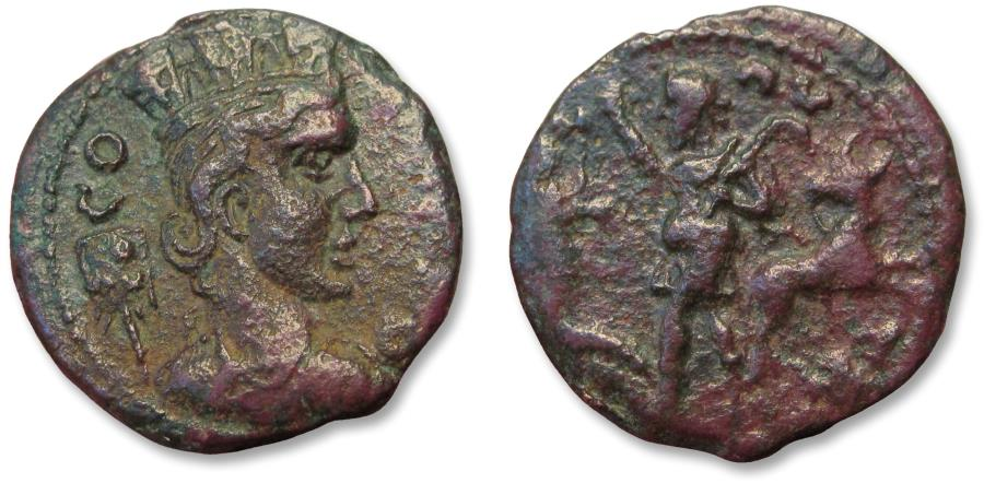 Ancient Coins - Troas, Alexandreia, AE 22mm civic issue circa 240-260 A.D. - herdsman, cave w statue + bull on reverse -