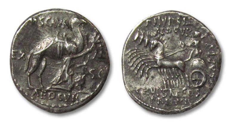 Ancient Coins - AR denarius M. AEMILIUS SCAURUS and PUB. PLAUTIUS HYPSAEUS, Rome 58 B.C.