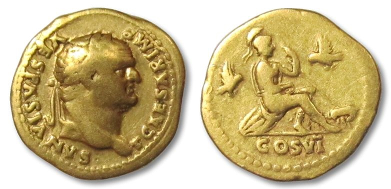 Ancient Coins - AV gold aureus Titus as Caesar, Rome 77 - 78 A.D. -- ROMA seated on rock --