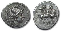 Ancient Coins - AR denarius C. Terentius Lucanus, Rome 147 B.C.