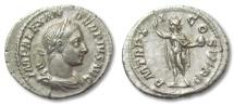 Ancient Coins - GD: AR denarius Severus Alexander, Rome 230 A.D. -- SOL standing left --