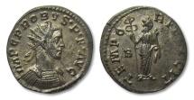 Ancient Coins - AE22 antoninianus Probus, Lugdunum mint 282 A.D. -- EF quality, near fully silvered --