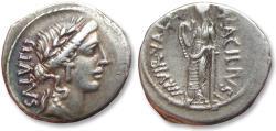 Ancient Coins - AR Denarius, Mn. Acilius Glabrio. Rome 49 B.C.