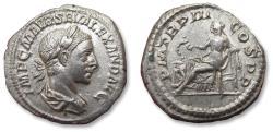 Ancient Coins - AR Denarius, Severus Alexander, Rome mint 224 A.D. - P M TR P III COS P P, Salus seated left -