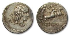 Ancient Coins - AR Denarius, L. Julius Bursio, Rome 85 BC - hints of gold iridescence, full strike both sides -