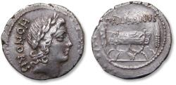 Ancient Coins - AR Denarius, Lollius Palikanus, Rome mint 45 B.C. - scarce coin in great condition -