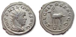 Ancient Coins - AR antoninianus Philip I 'the Arab',  Rome mint 248 A.D. - celebrating 1000 years Rome, antelope left -