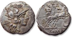Ancient Coins - AR denarius, anonymous issue - Biga drawn by 2 stags instead of horses - Rome 143 B.C.