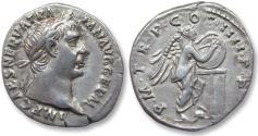 Ancient Coins - AR denarius Trajan / Trajanus, Rome 102 A.D. - P M TR P COS IIII P P, Victory inscribing shield -