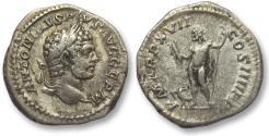 Ancient Coins - AR denarius Caracalla, Rome 214 A.D. -- Jupiter standing left --