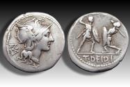 Ancient Coins - AR denarius T. Deidius / Didius, Rome 113-112 B.C. - Rare, one of the few cointypes with a gladiatorial scene -